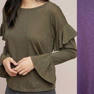 Sundry Purple Bell Ruffled Sleeve knit Top